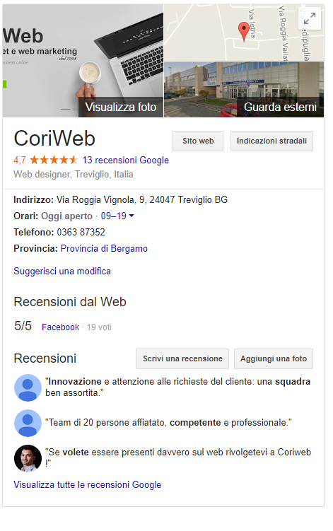 google my business coriweb